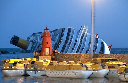 The sinking cruise ship