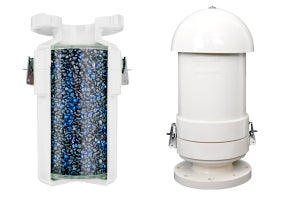 Wager's marine odor control vent valve is designed to allow for ventilation of black and grey water tanks while providing necessary odor control at the tank's location. The valve connects to a gooseneck pipe, or can also be vertically mounted on the ship's deck with a rain shield.